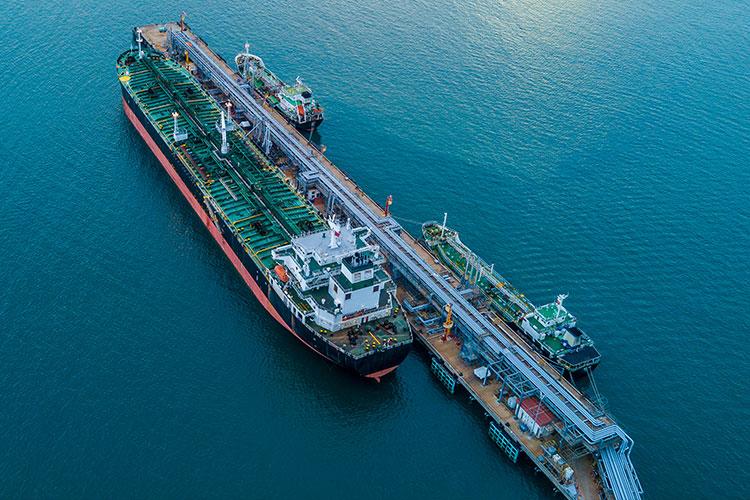 Tanker in a body of water