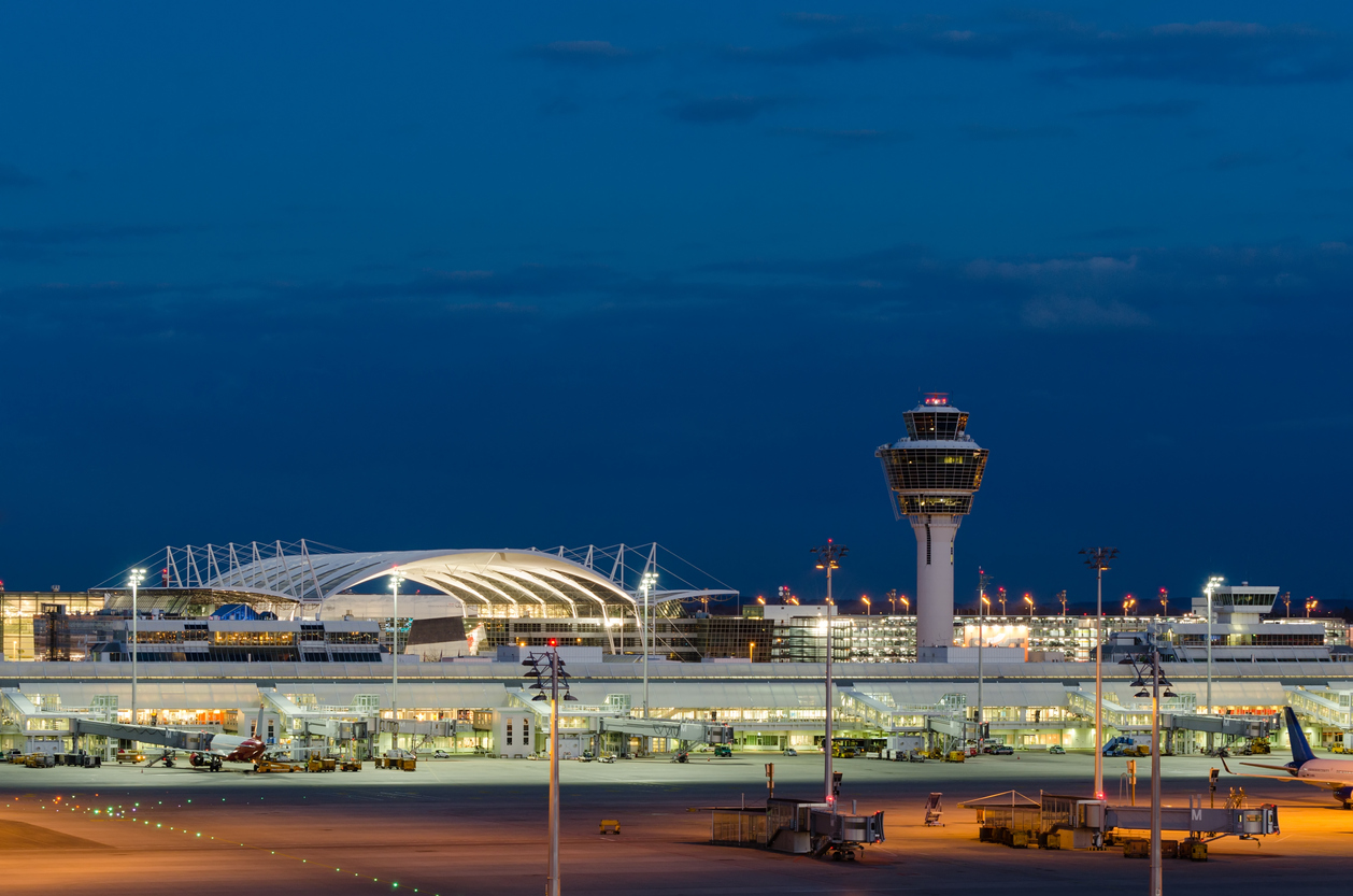 Munich Airport at Night, Munich, Bavaria, Germany.
