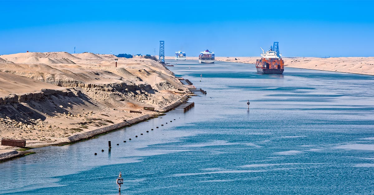 Ships passing through the Suez Canal.