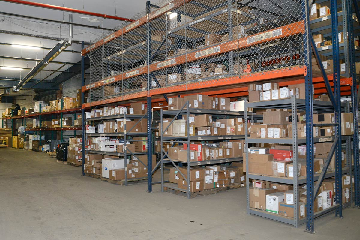 Warehouse with high industrial racking